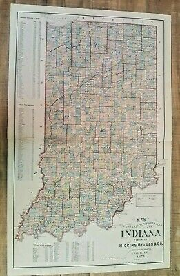 ANTIQUE 1875 - SECTIONAL & TWP MAP OF INDIANA / Higgins Belden & Co.