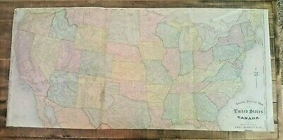 ANTIQUE 1875 - RAILWAY MAP OF THE U.S. & CANADA / Rand, McNally & Co.