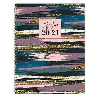 July 2020 - June 2021 Glitter Paint Large Daily Weekly Monthly Spiral Planner