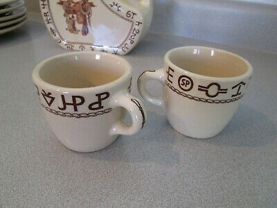2 - Coffee Cups in the Westward HO Boots & Saddle Pattern...Wallace China CO.