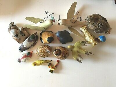 Lot of 15 Vintage Birds Metal wings Ceramic Wood Feather Ducks Quail Figurines
