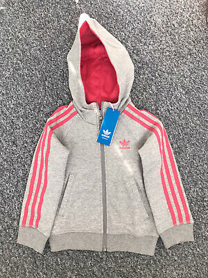 Brand New Girls 'Adidas' Hoodie. Age 5/ 6 Years. Grey/ Pink. Label Attached.