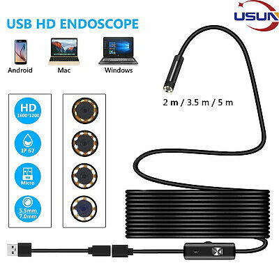 Usun 5.5/7mm USB Endoscope Borescope Inspection Tube Camera For Android Mobile