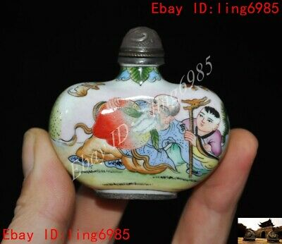 Chinese bronze Cloisonne Enamel Handmade painting Old man boy snuff bottle