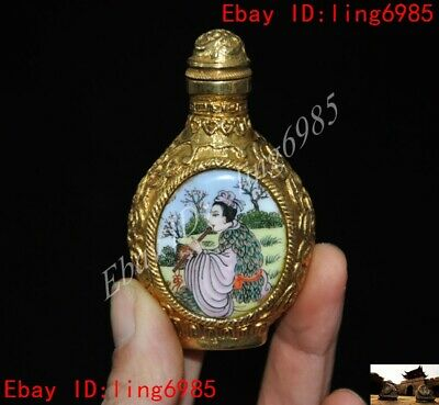 Chinese bronze Cloisonne Enamel 24k gold painting  Old man woman snuff bottle