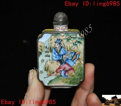 Chinese bronze Cloisonne Enamel painting  Old man people snuff bottle