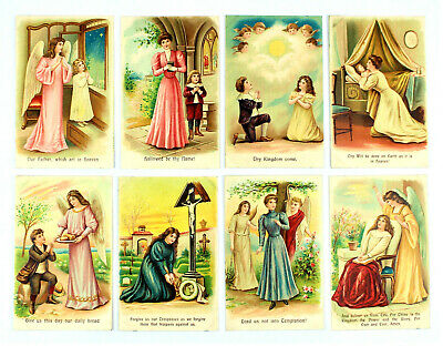 Series Of 8 Embossed Antique Postcards ~ Lord's Prayer ~ Unposted ~ Germany