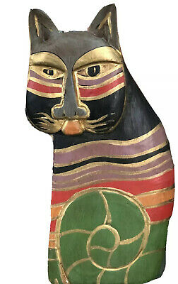 Hand Painted Carved Wooden Cat Figurine Black W/ Gold Stripes Laurel Burch Style