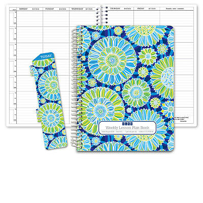 HARDCOVER 7 Period DATED Teacher Lesson Plan (D101 -Blue Green Flowers)