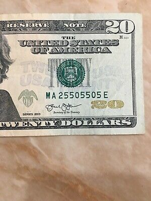 2013 5 of A Kind / Repeater US FRN $20 Fancy SERIAL # MA 2 550 550 5 E