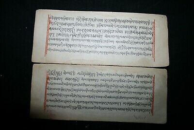 Mongolian Tibetan Manuscript Book Sutras Leaves Painting  Mongolia #Z0021