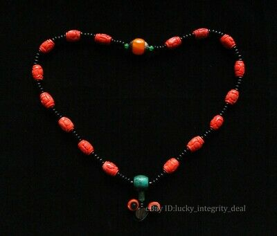 Chinese Old Red Coral Hand Carved Beads Necklace