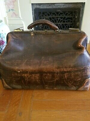 Antique Doctor's Bag Brown Cowhide Leather Warranted, Patented Authentic 1918