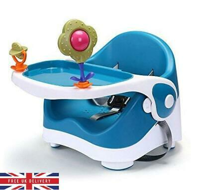 3 Stage Booster Seat With Play Tray  White & Blue Baby Feeding Chair