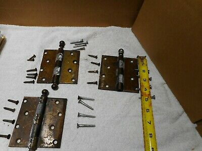 "3 Vtg Brass  Cannon Ball 4"" Hinges  W/ SCREWS"