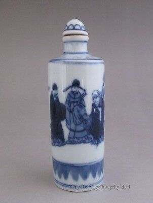 Chinese Old Blue and White Character story Porcelain Snuff Bottle