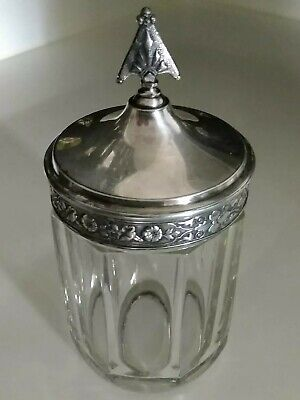 "Antique 4"" ribbed Glass Biscuit Cookie CrackerJar floral Silver Plate Lid finial"