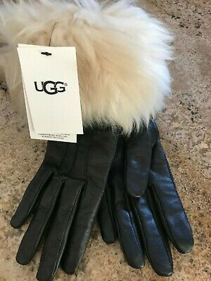 NWT UGG Women's Toscana Shearling Chestnut Brown Leather Smart Tech Gloves M