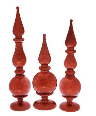 Set of 3 Illuminated Shatterproof Finials by Valerie-Red