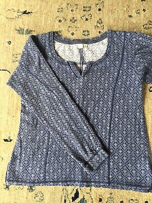 "Anthropologie ""E"" by Eloise Navy Blue Lounge Thermal Knit Top, Size S"