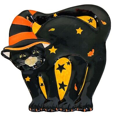 """Susan Winget Black Witch Halloween Cat Party Plate 12.5"""" Spooky Cute"""