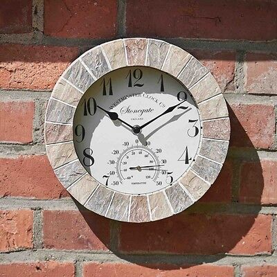 Outdoor Sandstone Effect Wall Clock and Thermometer Garden Display Natural Stone