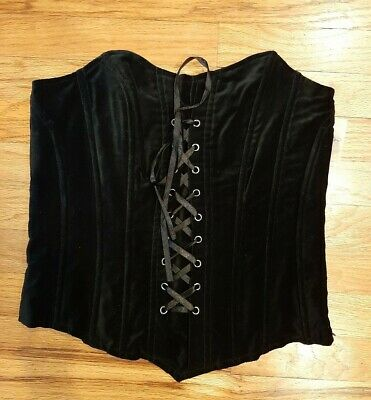 Candies- Juniors Black Velvet Fitted CORSET LACE UP TOP- Size S