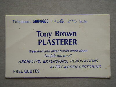 Tony Brown Plasterer 5609063 Business Card