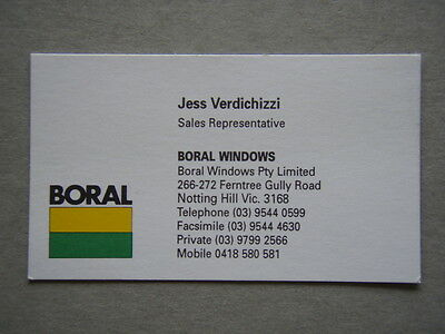 Boral Windows Notting Hill Jess Verdichizzi Business Card
