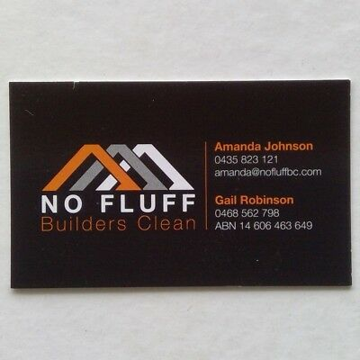 No Fluff Builders Clean Amanda Johnson 0435823121 Business Card