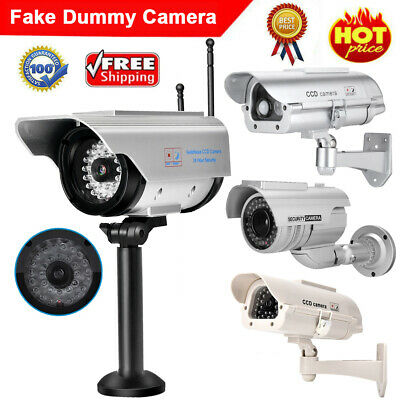 Solar Fake Dummy Camera LED In/Outdoor CCTV Security Surveillance Simulation Cam