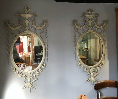 Fine Pair Of Antique Victorian Gesso Mirrors With Original Paint Adams Style