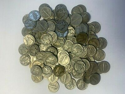 mercury dimes  sold in 1 lot containing 4 dimes. 90% silver content