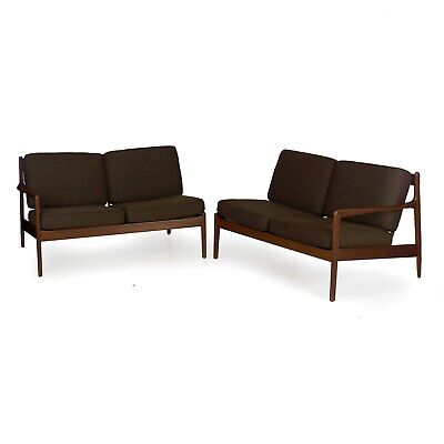 Mid Century Modern Sculpted Walnut Pair of Loveseat Sectional Sofas by Ohlsson