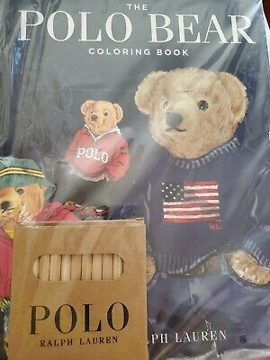 Brand New Sealed POLO RALPH LAUREN Teddy Bear Coloring Book Stickers Crayons