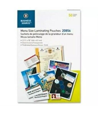 """Business Source Laminating Pouches Letter 5Mil 9""""x11-1/2"""" 50/BX Clear 20855"""
