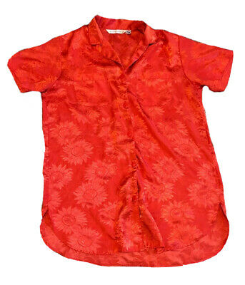 Victorias Secret M Womens Lingerie Night Shirt Polyester Red Button Down Floral