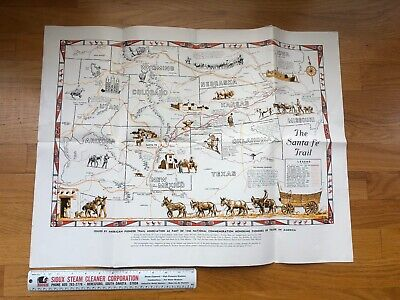 Vintage 1946 Map Poster Santa Fe Trail Irvin Shope American Pioneer Near Mint