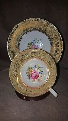 Vintage Stanley Bone China Teacup floral pattern, Gold with soft yellow. England