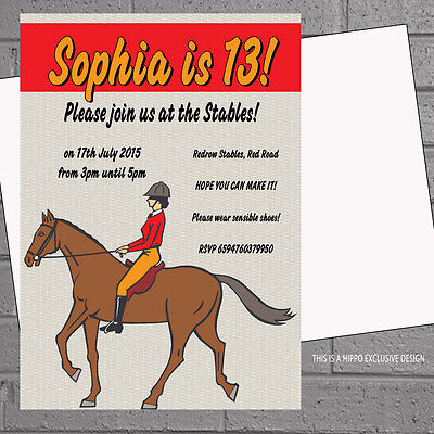 12 x Personalised Horse Riding Birthday Party Invitations Kids Girls | H1045