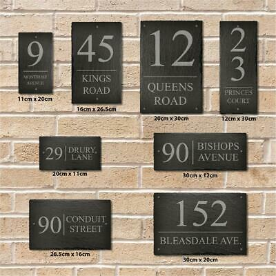 Personalised Rectangle Slate Plaque Door Number House Name Contemporary Style