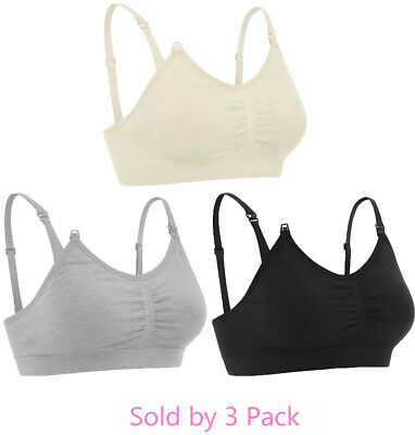 3-Pack Maternity Nursing Bra Breastfeeding with Pads Breast Feeding Tank Top