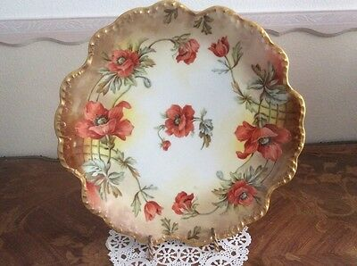 Authentic Antique Limoges Hand Painted Poppies & Leaves Large Wall Platter