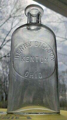 Henry Dickson Kenton Ohio 1800's Glass Bottle Medicine or Whiskey Slug Plate