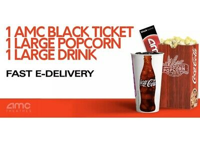 AMC Theaters 1 Black Ticket, 1 Large Drink, and 1 Large Popcorn. FAST E-DELIVERY