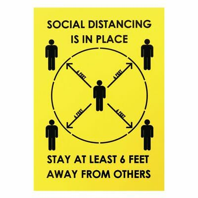 Expressly HUBERT® Yellow Plastic Social Distancing Sign For Crowd Control - 8
