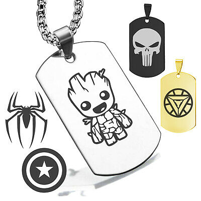 Stainless Steel Super Heros Spiderman Spider Dog Tag Pendent w Box Necklace 14X