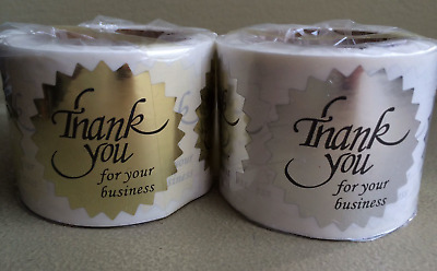 Thank You For Your Business Sticker Label Starburst Bright 500 Gold+Silver