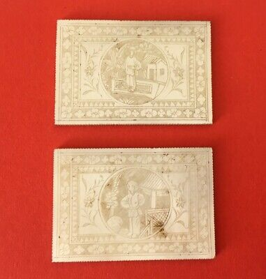 2 Jetons Chinois En Nacre -Qing 19Th- Chinese Mother Of Pearl Gaming Tokens