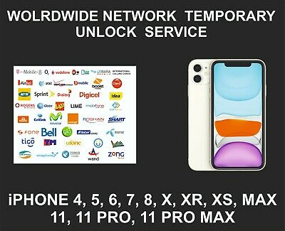 Worldwide Network Temporary Unlock Service, fits iPhone All Models, All Networks